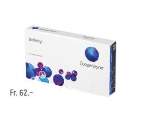 Boite de lentilles de contact CooperVision Biofinity à Fr. 62.-